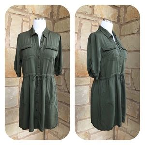Paper Crane Military Green Drawstring Shirt Dress